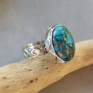 Copper Turquoise Sterling Ring